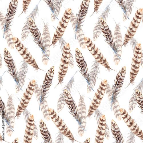 Watercolor brown beige stripe feather seamless pattern - 133870704