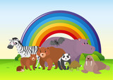 Wild animals in the field with rainbow in background
