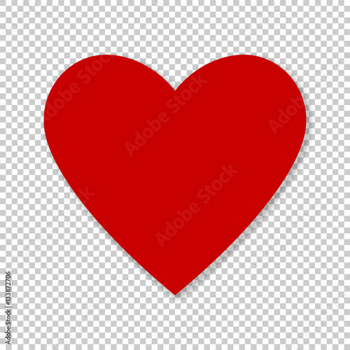 Valentine red heart on transparent background. Simple heart icon vector EPS-10 - 133872706