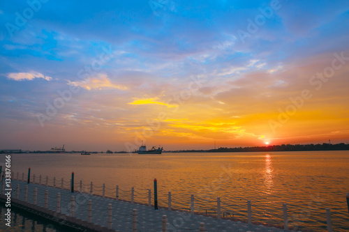 Poster SAMUT PRAKAN THAILAND amazing colorful sky and Chao Phraya River reflection on t