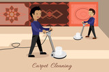 Carpet Cleaning Vector Concept in Flat Design