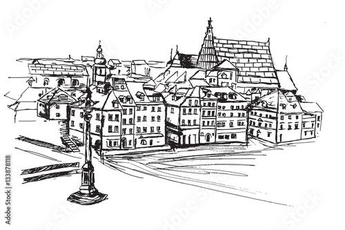 Panorama placu Zamkowego w Warszawie. Rysunek ręcznie rysowany na białym tle.
