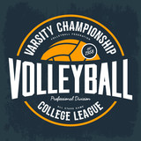 College tournament emblem for volleyball sport