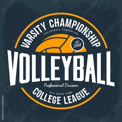 College tournament emblem for volleyball sport