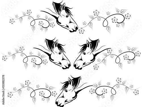 Horses line decoration
