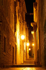 street of the old city at night - Dubrovnik Croatia