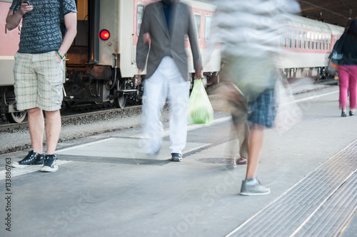 In de dag People walking on street and subway