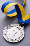 Close-up studio shot of second place silver medal