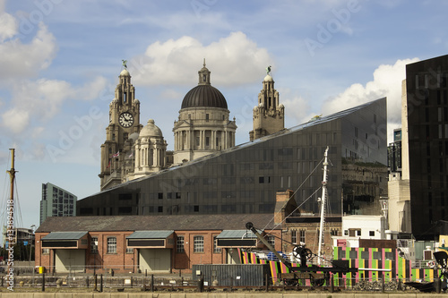 Poster Buildings in Liverpool (England) near the river Mersey, Albert d