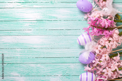 Border from decorative violet eggs  and pink hyacinths flowers