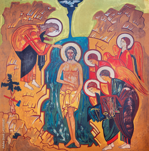 VIENNA, AUSTRIA - DECEMBER 19, 2016: The icon of the Baptist of Christ on the canvas in church Brigitta Kirche by unknown artist of 20. cent. © Renáta Sedmáková