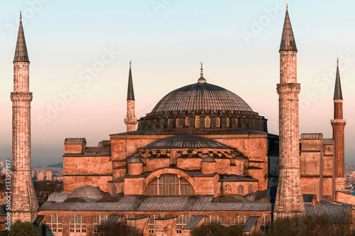 Leinwand Poster Hagia Sophia at sunset