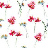 Seamless wallpaper with Stylized wild flowers
