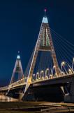 The illuminated Megyeri Bridge, Budapest