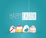 Easter blue poster with hanging handwritten text. Vector illustration.