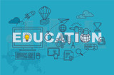 Education web page banner concept with thin line flat design - 133929545