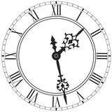 Elegant clock face with roman numerals placed on white - 133929787
