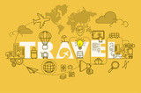 Travel web page banner concept with thin line flat design - 133931513