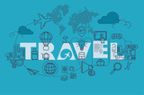 Travel web page banner concept with thin line flat design - 133931525