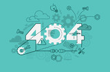 404 error website banner concept with thin line flat design - 133932184