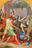 VIENNA, AUSTRIA - DECEMBER 19, 2016: The Jesus fall under corss in church kirche St. Laurenz (Schottenfelder Kirche) by unknown artist of 19. cent.