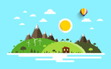 Vector Landscape. Flat Design Nature Scene.