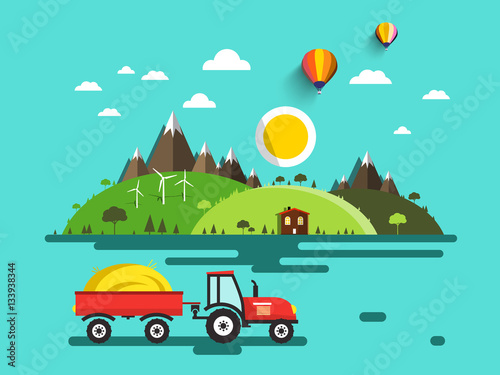 Flat Design Vector Landscape. Tractor with Dray on Field. Mountains and Hills. Bio Farm. Nature Scene.