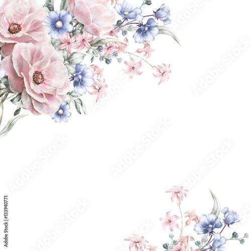 Karta, akwarela zaproszenie na ślub projekt z różową różę, małe kwiaty i liście. Ręcznie malowane kwiatowy tło dla tekstu. Szablon. Rama.