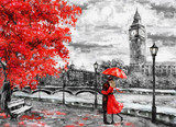 oil painting on canvas, street of london. Artwork. Big ben. man and woman under an red umbrella. Tree. England. Bridge and river - 133948127