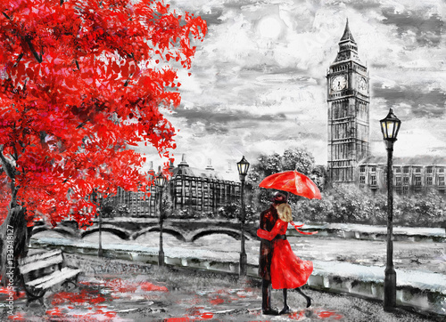oil painting on canvas, street of london. Artwork. Big ben. man and woman under an red umbrella. Tree. England. Bridge and river © lisima