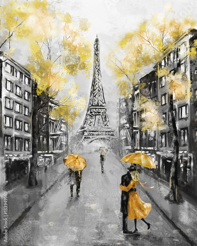 Oil Painting, Paris. european city landscape. France, Wallpaper, eiffel tower. Black, white and yellow, Modern art. Couple under an umbrella on street - 133949140