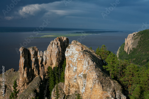 Poster View of the great river with the high rocky shore