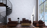 the Living room design and white brick wall - 133950914