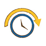 clock  with arrow icon image vector illustration design