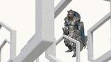 3d animation of medieval knight fighting with swords and shield in abstract space.