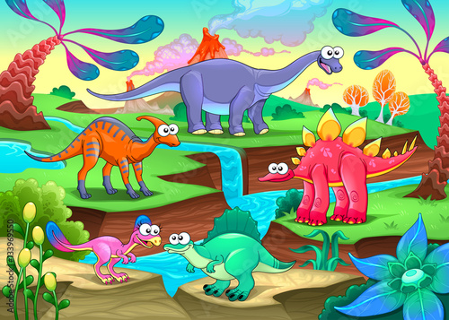 Foto op Canvas Kinderkamer Group of funny dinosaurs in a prehistoric landscape