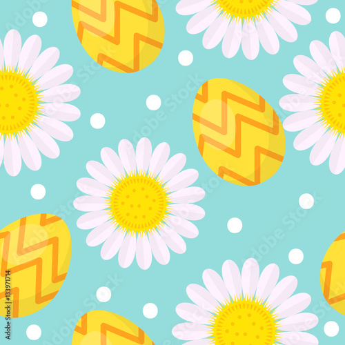 Materiał do szycia Cute Easter seamless pattern with eggs and camomile, endless backdrop. Holiday background, texture, digital paper. Vector illustration