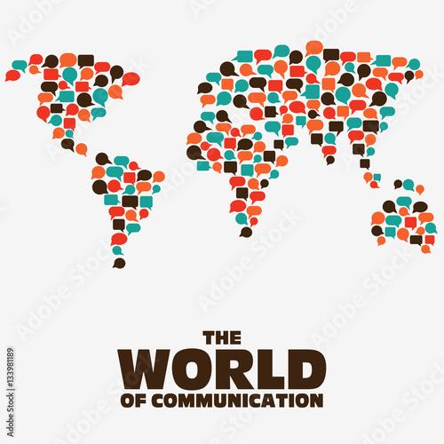 Foto op Aluminium Wereldkaarten The World of communication. World map made of colorful speech bubbles
