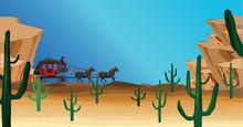 Western Scene  Stagecoach Wagon Sticker
