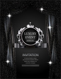 Luxury event elegant  silver and black background with sparkling theater curtains. Vector illustration - 133988777
