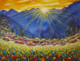 Original oil painting of sunrise over a flower meadow in the mountains on canvas. Modern Impressionism Art. Artwork. - 133995579