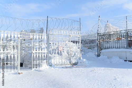 Fence in the colony of special regime. Inner perimeter. Russia Poster