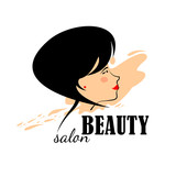 Beautiful woman Logo for beauty salon, spa salon, firm or company. Abstract logo womans face in profile. Vector illustration