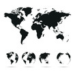 set of vector globe planet earth with all continents and world map