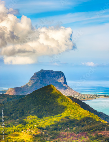 Poster View from the viewpoint. Mauritius.