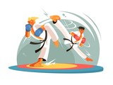 Guys karate sparring for training