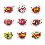 Fototapety Comic speech bubbles and splashes set with different emotions and text Wow, Omg, Oh Yeah, Shit, No, Yes, Epic Shit, Win, Loser. Vector bright dynamic cartoon illustrations isolated on white background