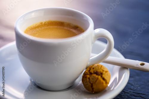 Poster Espresso mit Keks