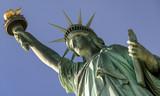 Closeup of Statue of Liberty, tilt shot