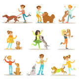 Fototapety Children And Dogs Illustrations Set With Kids Playing And Taking Care Of Pet Animals